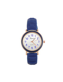Fashion Dark Blue Color Matching Decorated Round Dail Simple Watch