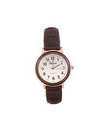 Fashion Brown Color Matching Decorated Round Dail Simple Watch