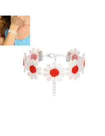 Fashion Red Flower Decorated Color Matching Simple Bracelet