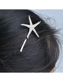 Cute Plated Color Hairclip Decorated With Starfish Of Pure Color
