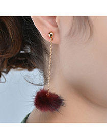 Fashion Red Earrings Decorated With Fuzzy Ball