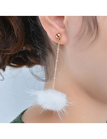 Fashion White Earrings Decorated With Fuzzy Ball