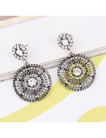 Vinatge Silver Color Hollow Out Pendant Decorated Simple Earrings
