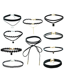 Fahion Black Pure Color Decorated Double Layer Jewelrt Sets (10 Pieces)