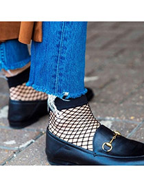 Trendy Black Hollow-out Socks Of Sexy Style