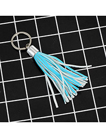 Fashion Blue Key Chain Of Pure Color Decorated With Tassel