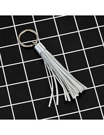 Fashion Grey Key Chain Of Pure Color Decorated With Tassel