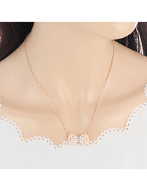 Bohemia Gold Color Bowknot Pendant Decorated Simple Long Chain Necklace