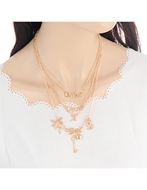 Bohemia Gold Color Matal Key Shape Pendant Decorated Multilayer Necklace