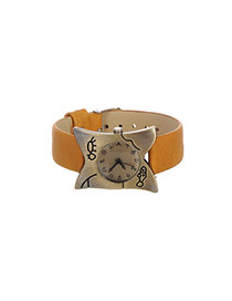 Personality Brown Metal Irregularity Shape Decorated Simple Wrist Watch