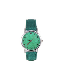 Fashion Green Pure Color Decorated Round Dial Simple Wrist Watch