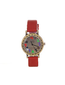 Fashion Red Nakeskin Grain Strap Decorated Simple Wrist Watch