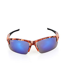 Personality Brown+blue Hollow Out Decorated Simple Square Shape Design Sunglasses