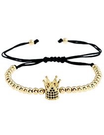 Personality Gold Color Metal Royal Crown Decorated Simple Pure Color Bracelet