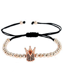 Personality Rose Gold Metal Royal Crown Decorated Simple Pure Color Bracelet