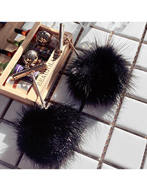 Fashion Black Fuzzy Ball Pendant Decorated Simple Long Earrings