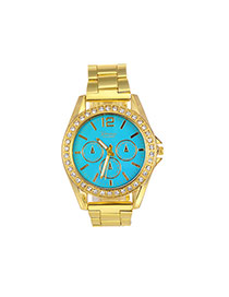 Fashion Green Color Matching Decorated Round Dail Shape Watch