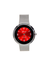 Fashion Red Color Matching Decorated Round Dail Shape Watch