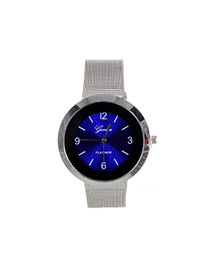 Fashion Sapphire Blue Color Matching Decorated Round Dail Shape Watch