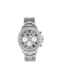 Fashion Silver Color Diamond Decorated Pure Color Round Dail Watch