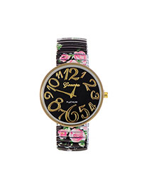 Fashion Black Painting Flower Pattern Decorated Round Daild Watch