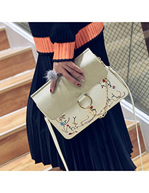 Vintage Beige Round Shape &printing Decorated Simple Long Chain Bag