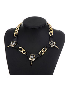Fashion Black Water Drop Shape Diamond Decorated Hollow Out Simple Necklace