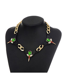 Fashion Green Water Drop Shape Diamond Decorated Hollow Out Simple Necklace