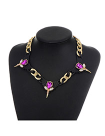 Fashion Plum Red Water Drop Shape Diamond Decorated Hollow Out Simple Necklace