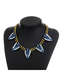 Fashion Blue Diamond Decorated Triangle Shape Simple Necklace