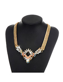 Fashion Gold Color Square Shape Diamond Decorated Color Matching Necklace