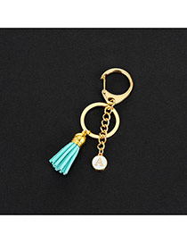 Fashion Green Metal Round Shape &tassel Decorated Simple Key Ring