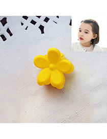 Fashion Yellow Flower Decorated Pure Color Simple Hair Pin