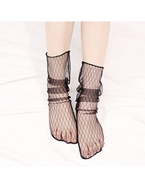 Fashion Black Pure Color Decorated Hollow Out Short Socks