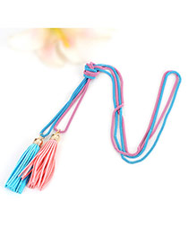 Bohemia Blue+pink Double Layer Tassel Decorated Simple Long Chain Necklace