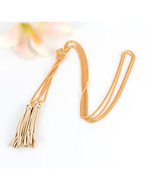 Bohemia Gold Color Double Layer Tassel Decorated Simple Long Chain Necklace