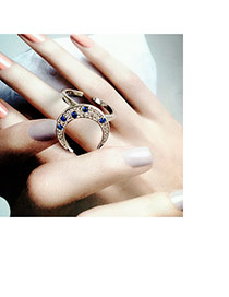 Fashion Silver Color Moon Shape Decorated Simple Opening Ring