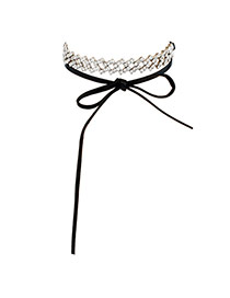 Fashion Silver Color Diamond Decorated Bowknot Design Hollow Out Choker
