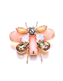 Fashion Pink Water Drop Shape Diamond Decorated Insect Shape Brooch