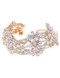 Fashion Gold Color Water Drop Shape Diamond Decorated Hollow Out Simple Choker