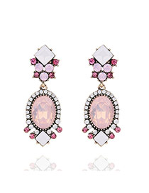 Trendy Pink Oval Shape Gemstone Decorated Color Matching Simple Earrings