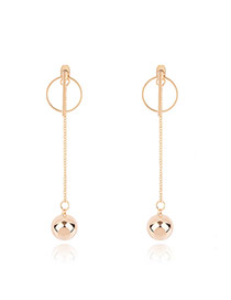 Fashion Gold Color Round Ball Pendant Decorated Pure Color Simple Earrings