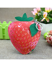 Fashion Red Circular Ring&leaf Pendant Decorated Strawberry Shape Simple Wallet