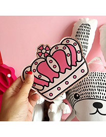 Fashion Pink Crown Pattern Decorated Color Matching Simple Wallet