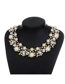 Fashion Milk White Pearls&diamond Decorated Double Layer Necklace