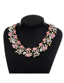 Fashion Pink Pearls&diamond Decorated Double Layer Necklace