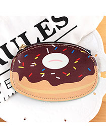 Fashion Gray+beige Donut Shape Decorated Color Matching Simple Wallet