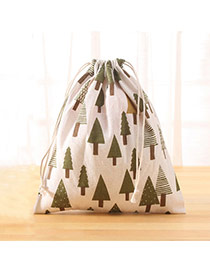 Fashion White+green Tree Pattern Decorated Square Shape Duffle Bag