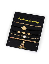 Fashion Gold Color Tassel Pendant Decorated Pure Color Simple Bracelet