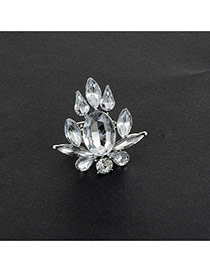 Fashion Silver Color Oval Shape Diamond Decorated Pure Color Flower Shape Ring
